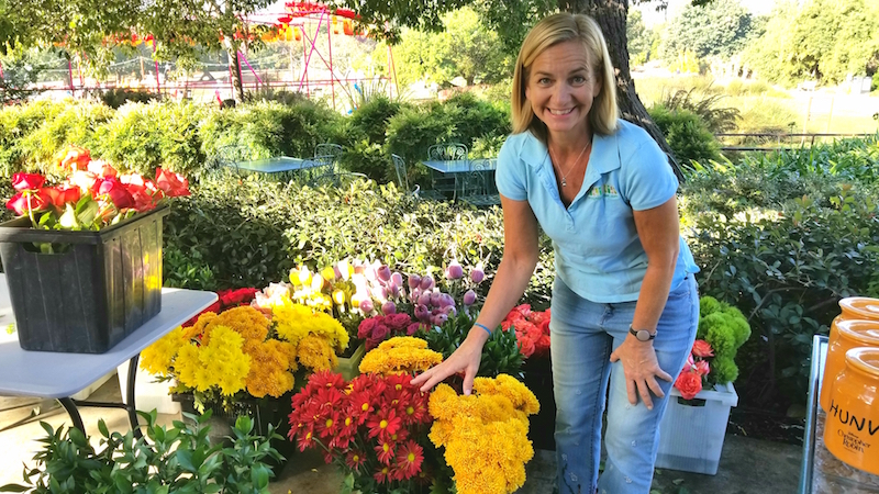 Casey at the LA Arboretum ready to teach a flower class.