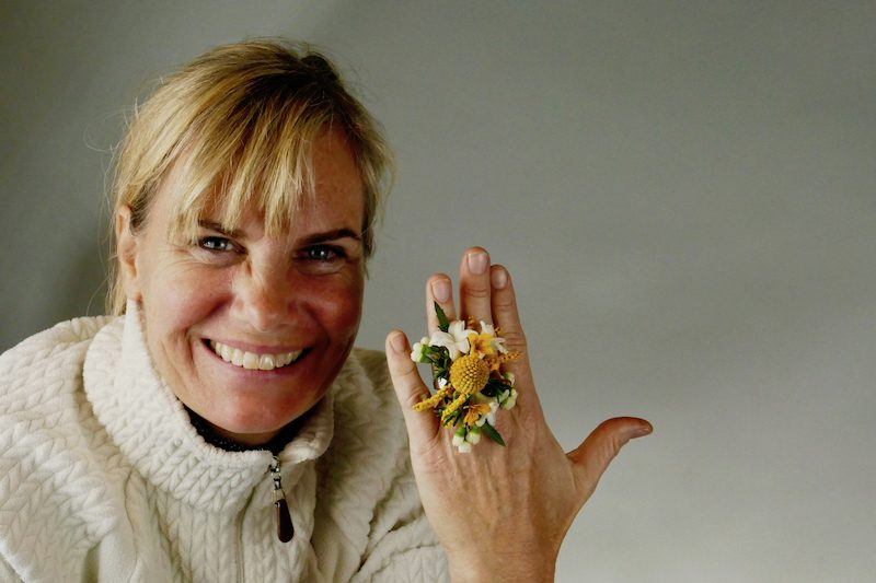 Kit Wertz and her floral ring