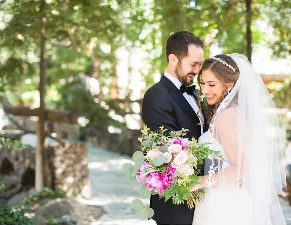 Bridal Couple with pink Peony bouquet