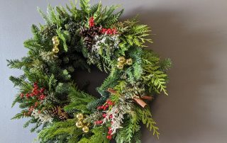 Flower Duet Christmas Evergreen Wreath Class