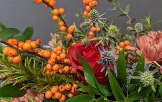 Ilex Berries and Roses