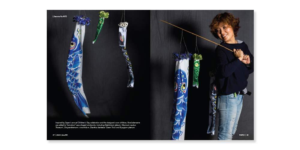 Jeanne Ha with carp windsocks