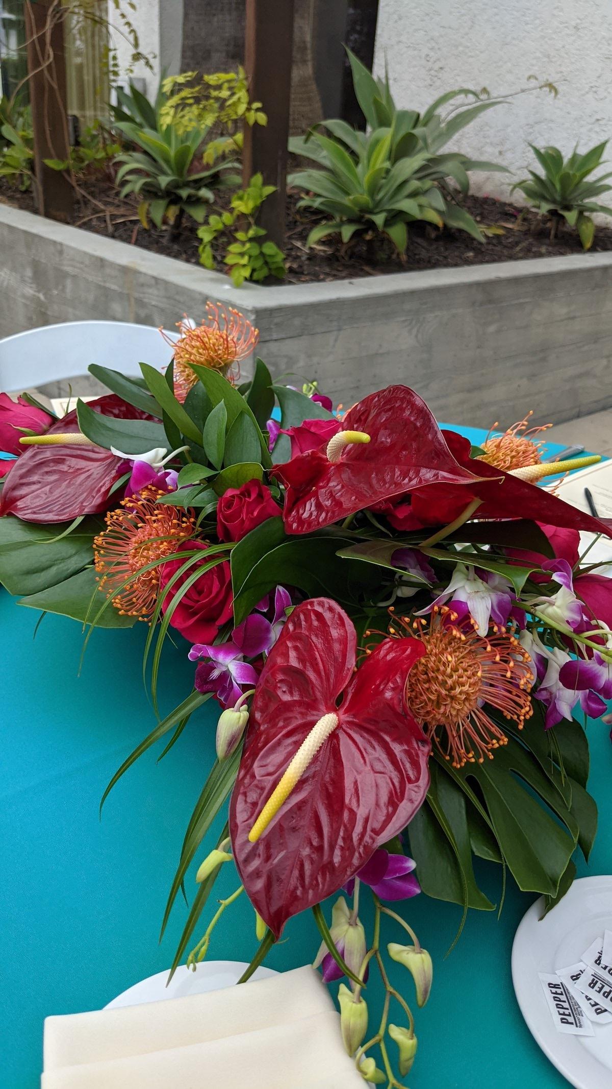 Tropical floral centerpiece by Flower Duet