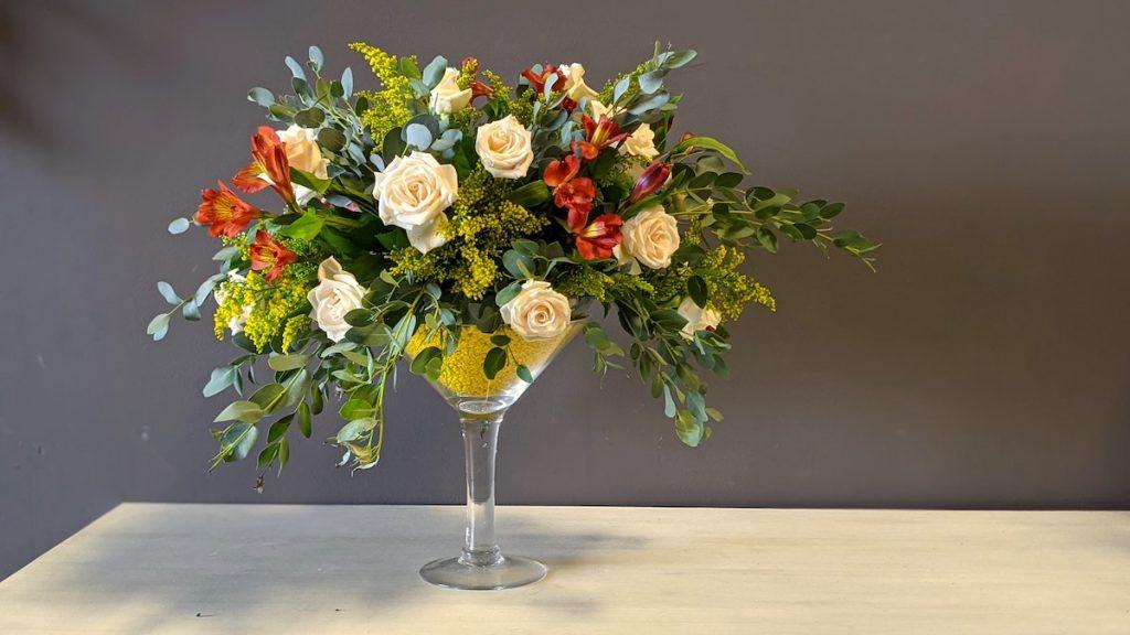 Giant Martini Vase florals