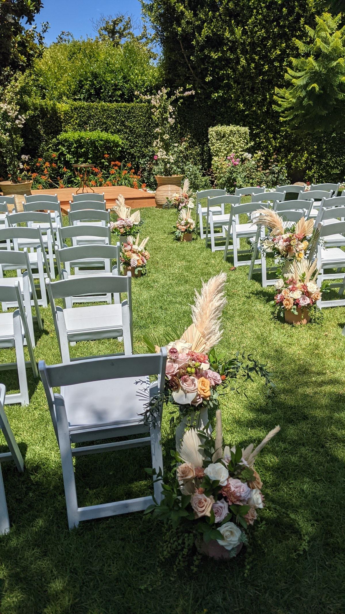 Backyard wedding aisle